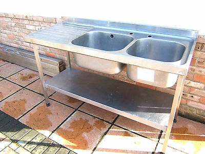 Sissons Double Bowl Catering Sink Stainless Steel Shelf Under 1500Mm Lh Drainer