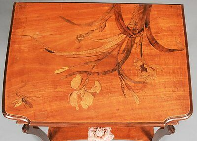 NOUVEAU Wood DESK - Table MARQUETRY INLAID French GALLE(?)