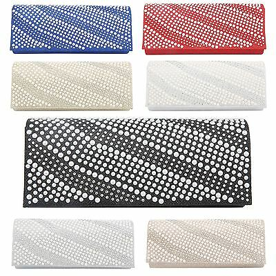 Womens Satin Glitter Diamante Pearls Evening Party Wedding Prom Clutch Hand Bag