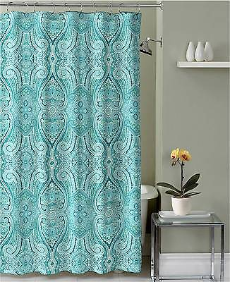 Turquoise Teal Grey White Fabric Shower Curtain Ornate Mosaic Damask Design