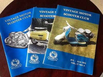 Vintage Motor Scooter Club Magazines - x3
