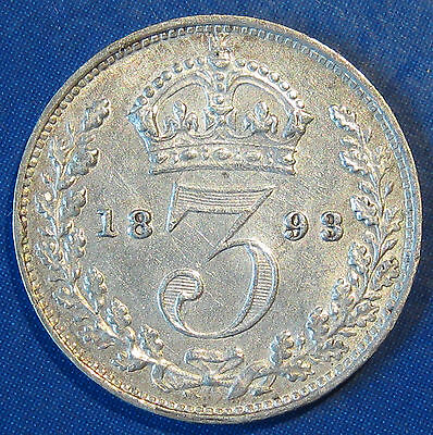 1893 3d Victoria Rare Jubilee Head silver Threepence in an extremely high grade