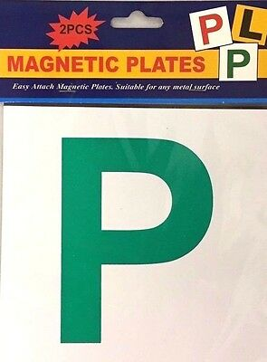 2 x PIECE  FULL  MAGNETIC P PLATE CAR LEARNER SIGN STICKERS VEHICLE STICKER