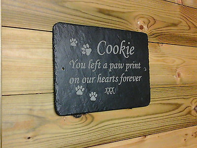 Pet Dog Memorial Slate Plaque - Paw Prints Poem Personalised and made to order