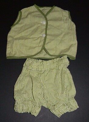 Vintage 1950s Green White Gingham 2 Piece Handmade Baby Outfit