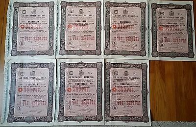 Russia City Of Kiev Xxii 5% 1914 Loan For £100 7 Consecutive Numbers Bonds!
