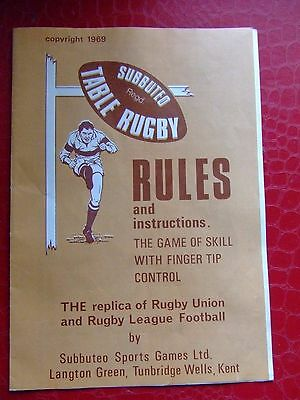 Subbuteo RUGBY RULES 1969