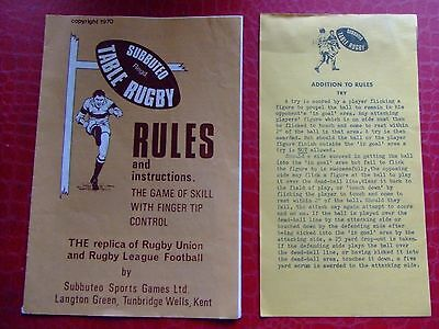 Subbuteo RUGBY RULES 1970 with Rule Update