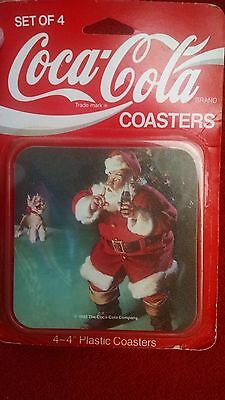Coca Cola Set of 4 Christmas Santa Coasters Plastic Coasters In Package 1992