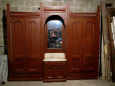 ~ Ornate Antique Walnut Closet Front Built In Armoire 124 X 106 ~ Salvage ~
