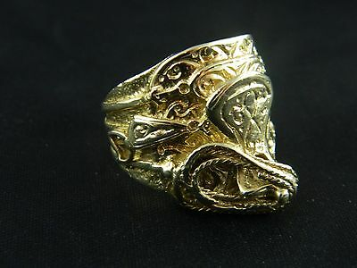 9ct Gold Hallmarked Brand New Mens Heavy Saddle Ring  20.2g Keeper, Buckle, Knot