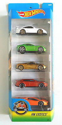 Hot Wheels Exotics 5. 5 Car Gift Pack A 2016 Djd29 1:64 Scale New