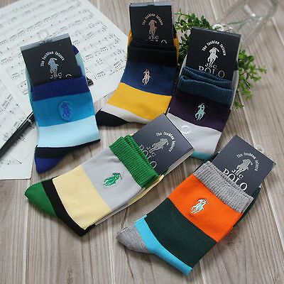 UK Men's polo sport Crew Quarter Combed Cotton Ankle Casual Socks Popular 5Pairs