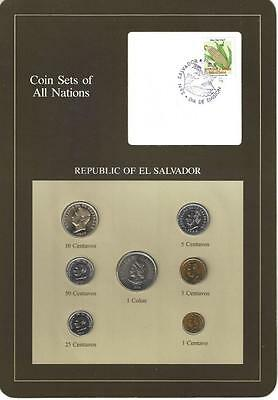 Coin Sets of All Nations - El Salvador, 7 coin brown set, postmarked 1984