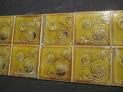 ~ NICE LOT OF 13 ORNATE ANTIQUE TILES ~ 6 x 6 ~ ARCHITECTURAL SALVAGE ~