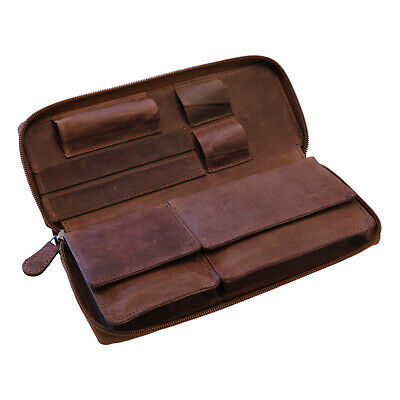 Genuine leather tobacco pouch havanna brown - smoking papers filter bag grinder