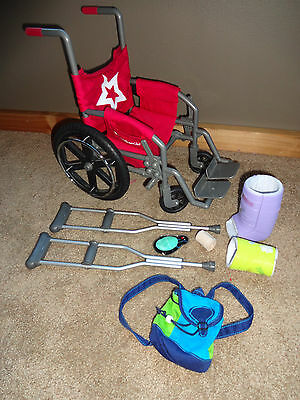 American Girl Doll LOT Berry Wheelchair/Crutches/Casts/Wrap/Backpack/Bag in Box