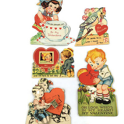 Lot of VTG Valentines day cards Dated 1930's-40's moveable fold open bird Lot J