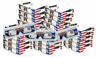 FIREWORKS Diffraction GLASSES - See Rainbows- Folded 25 PAIRS - Patriotic Style