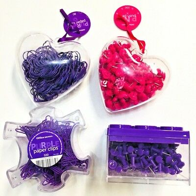 2 Valentines Day Gift Office Heart Ornaments Push Pins Paper Clips Pink Purple