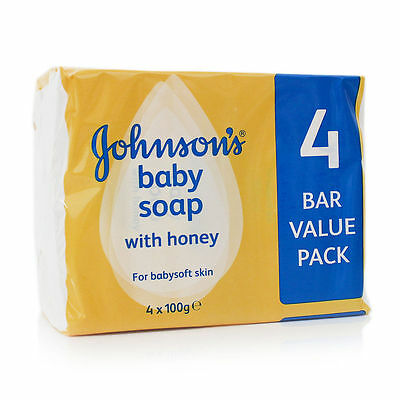 16 TO 4 x JOHNSONS BABY SOAP WITH HONEY 4BARS X 100gms