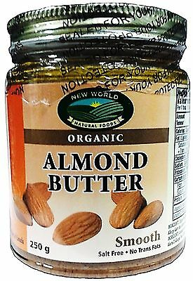 New World Foods Almond Butter Smooth Raw Almond Organic 250g
