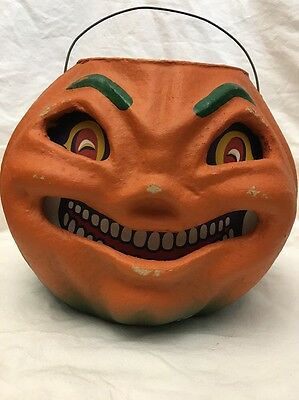 VINTAGE Style LARGE Paper Pulp Jack O Lantern PUMPKIN By SEASONS GONE BY (Mache)