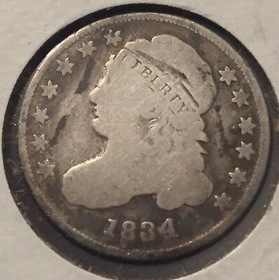1834 Capped Bust Dime In Good Condition #0058