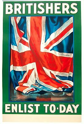 "Original WWI ""Britishers Enlist Today"" poster by Lipscombe. Linen-backed."