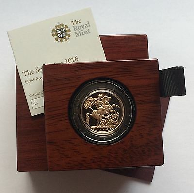 2016 Royal Mint Gold Proof Sovereign - Boxed with Certificate RARE
