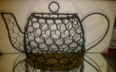 Primitive Chicken-Wire-and-Twigs-Sticks-Tea-Pot-Wall Pocket Vase all Natural