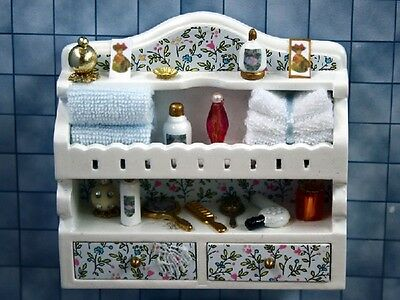 Dolls House Miniature 1:12th Scale Bathroom Shelf With Accessories