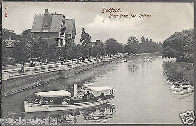 Bedford River from the Bridge  boat Old Unposted Postcard