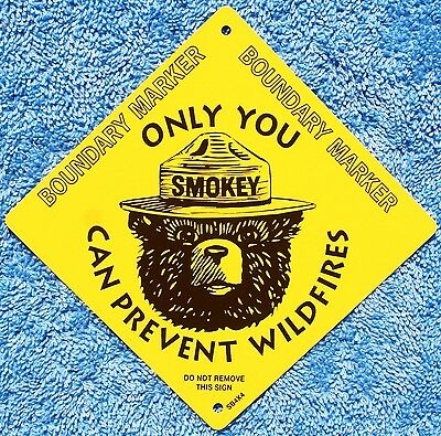 "USFS US Forest Service  Smokey The Bear 4"" X 4"" Metal Boundary Marker Info Sign"