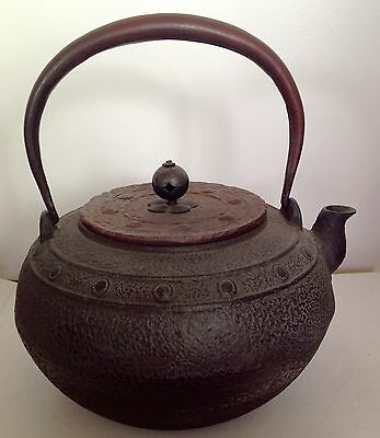 Antique Japanese Traditional Round Iron Round Tetsubin Tea Kettle Teapot