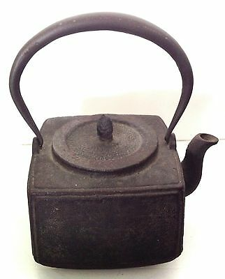 Antique Japanese Traditional Square Iron Round Tetsubin Tea Kettle Teapot