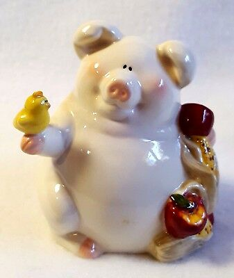 """Pig Figurine Holding a Baby Yellow Chick Fall Apples Corn Glazed Ceramic 3.5"""""""