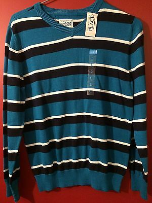CHILDREN'S PLACE Boy's Fall Turqouise Striped Sweater - Size Large (10/12) - NWT