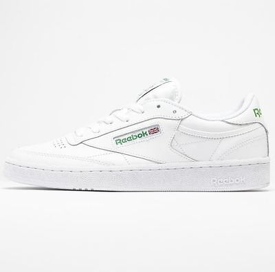 c3d000ef426 Reebok Club C 85 Classic Leather Men s Tennis Casual Shoes AR0456 White  Green S