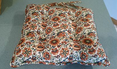 "Longaberger Spice Market fabric Chair Pad Cushion NEW 19"" square + ties"