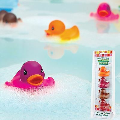 Toy Colour Change Rubber Bath Ducks Set of 4 Bath time fun Kids Gift Water