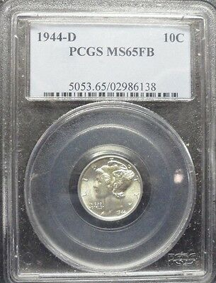 1944-D  Mercury  Dime  PCGS  MS 65 FB