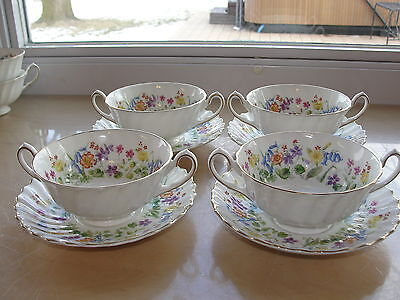 4 Royal Doulton Easter Morn Footed Cream Soup Bowl and Saucer