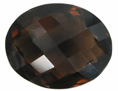 Incredible 39.70 Carat Oval Checkerboard Cut Smokey Quartz