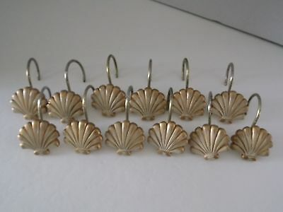 Clam Shell Resin Shower Curtain Hooks ~ Set of 12 ~ Gold w/Cream Accents