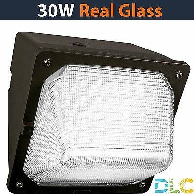 NEW 30W LED WallPack 5000K, Glass Lens, 3100lm, DLC, (Free Shipping)