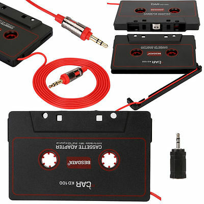 Black 3.5mm Car Music Audio Cassette Tape Jack Adapter for MP3 iPod CD Player