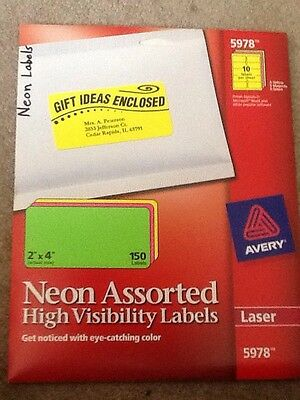"""Avery Neon Labels 2"""" X 4""""  Laser 5978 150 Labels 10 On A Sheet"""