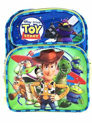 "Disney Pixar Toy Story 12"" Canvas Green & Blue School Backpack"