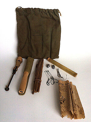 WWII Vintage Ashaway lines Service man's overseas fishing kit survival set